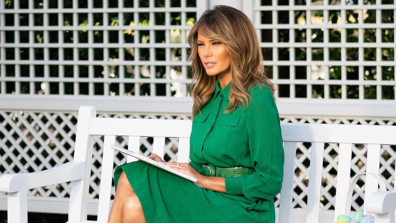 Melania Trump dans le jardin Kennedy de la Maison Blanche.